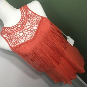 Coco + Jameson | Coral Rayon Tank-Lace & Tassels
